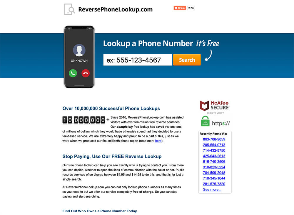 find information on a cell phone number for free